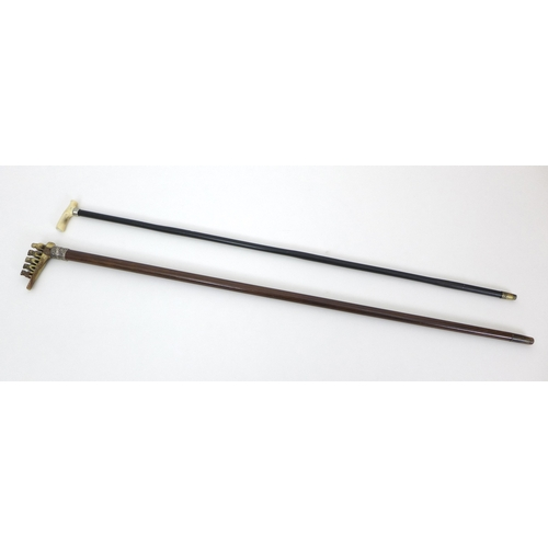 70 - Two late 19th / early 20th century walking sticks, comprising a walking stick with small ivory handl...