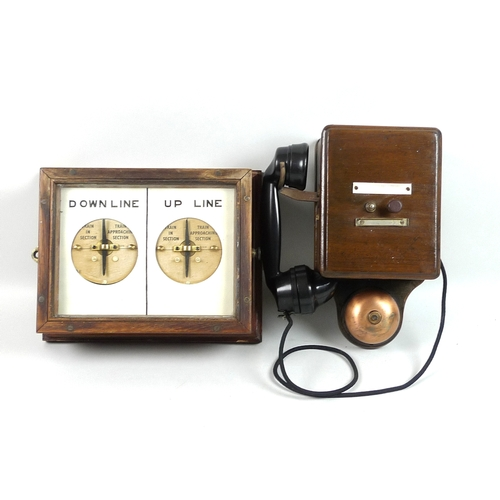 60 - Railwayana: a GNR twin dial Crossing Box Indicator, with left dial showing 'Down Line Train In Secti...