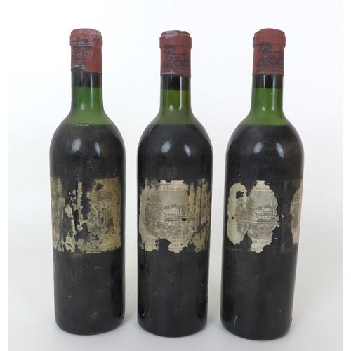 98 - Vintage Wine: three bottles of Chateau Lafite-Rothschild, 1961, Premier Grand Cru Classe, Pauillac, ...