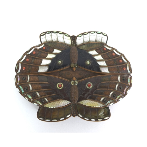 87 - A Meiji period Japanese shibayama box, the lid formed as two moths facing one another, the wings inl...