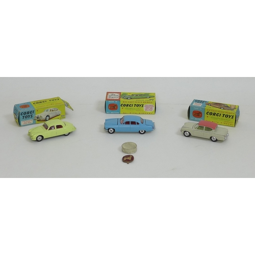 122 - A group of three vintage Corgi model cars, comprising a near mint model of a Jaguar Mark X in powder...