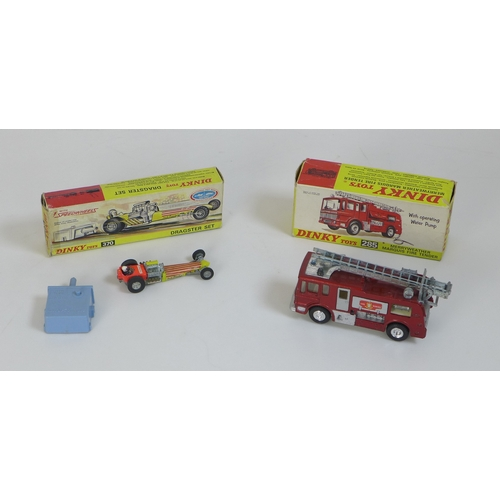 126 - A vintage Dinky Dragster set, model 370, boxed, together with a Merryweather Marquis Fire Tender, mo...