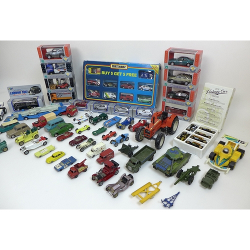 124 - A collection of toy vehicles, including ten Corgi, six Dinky, two Lonestar, twenty one Lesney and fo...