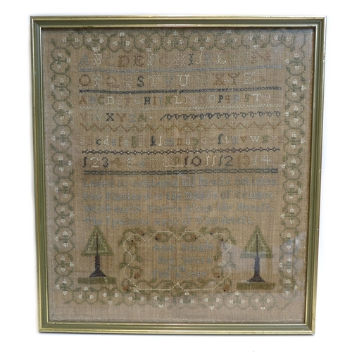 150 - A George III needlepoint sampler on linen canvas, dated 7th February 1799, by Ann Knight, framed, 38...