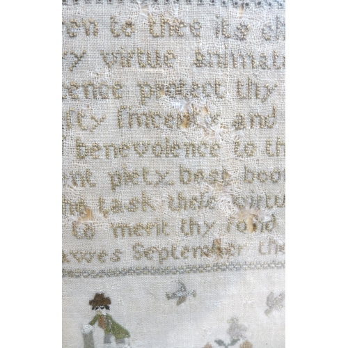 151 - A George III cross stitch sampler, silk threads on linen, with poem 'May heaven to thee its choice o...