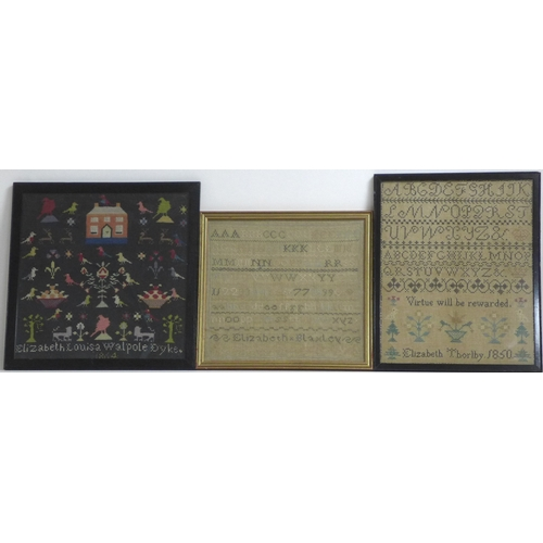 152 - A selection of three Victorian needlepoint samplers and embroideries, comprising a sampler stitched ...