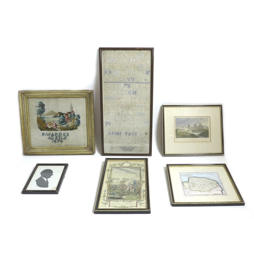 149 - A selection of prints and needlepoint samplers including an early to mid 19th century needlepoint sa...