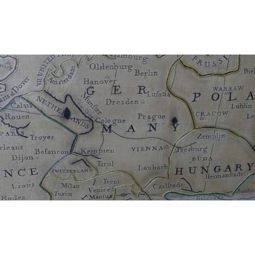 155 - A Regency period embroidered map of Europe, embroidered on silk by Mary Petchell, York School, 1812,...