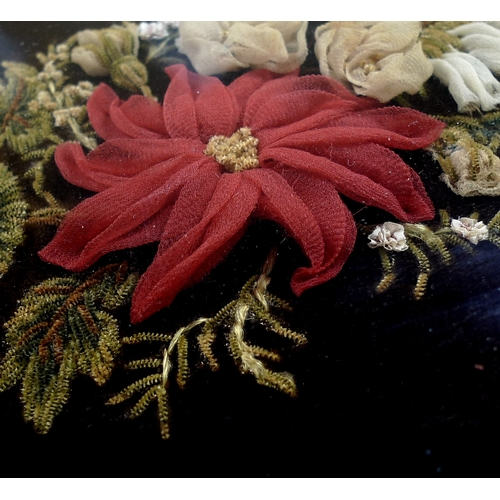 154 - A Victorian mourning embroidery wreath, hand sewn in the form of a crescent swag with single red flo...