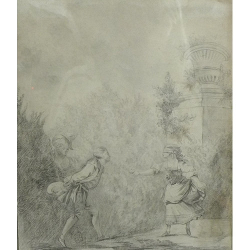 156 - A group of four 18th and 19th century pencil and pen and ink drawings comprising an Arcadian landsca...
