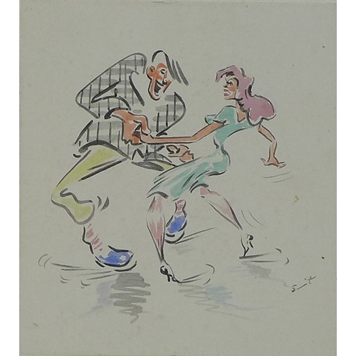 157 - A group of three 1950's German cartoons depicting dancers, each with dedicated caption signed Peter,...