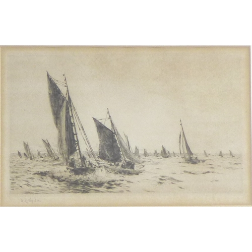 161 - William Lionel Wyllie RA, RE, RI (British, 1851-1931): 'First in with the Catch', etching, signed in...