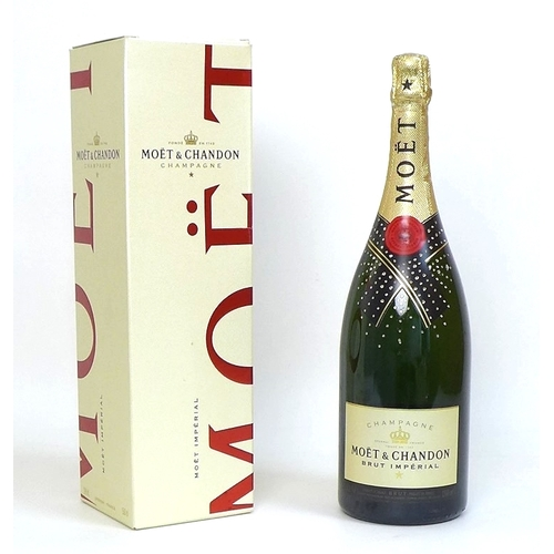 96 - Vintage Champagne: a magnum of Moet & Chandon Brut Imperial champagne, the bottle applied with Swaro...