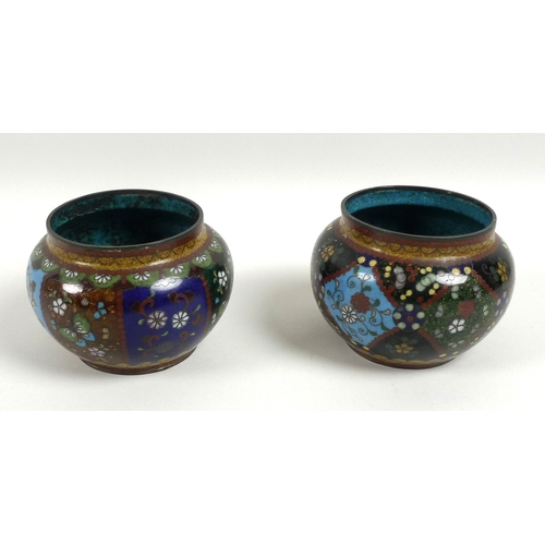 85 - A pair of Chinese cloisonne enamel squat vases, 19th century, unmarked, each 9.5 by 7cm. (2)...