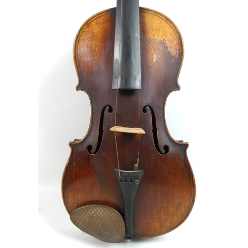 83 - A 19th century 4/4 violin, probably German, paper label inside 'Giovan paolo Maggini brescia 1640', ...