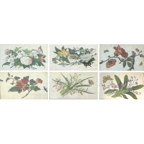 173 - A group of Chinese paintings on silk comprising a pair of paintings of butterflies amongst peonies a...