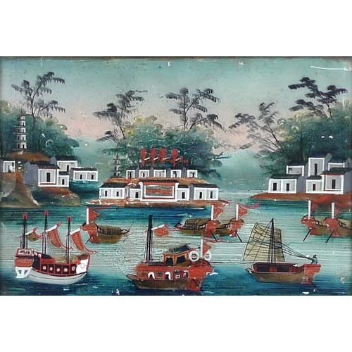 172 - Chinese School (19th century): a pair of portraits and a river scene with boats, reverse glass paint...
