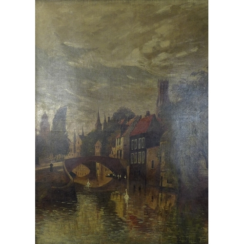 188 - Willem Leendert Bruckman (Dutch, 1866-1928):  view of the Quai Vert, Bruges, oil on canvas, signed a...