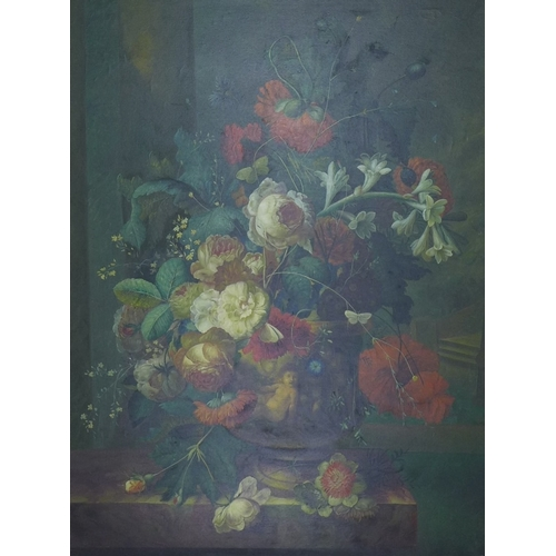 187 - An early to mid 20th century Dutch style still life, oil on canvas, depicting an urn overflowing wit...