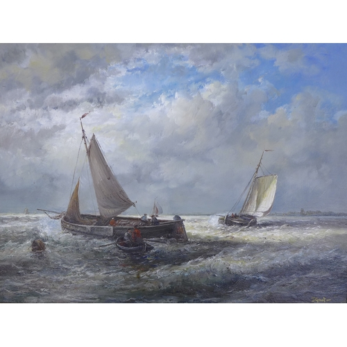 180 - Johnny Gaston (British, b. Glasgow 1955): a view of a rowing boat and four ships, in Dutch style, si...