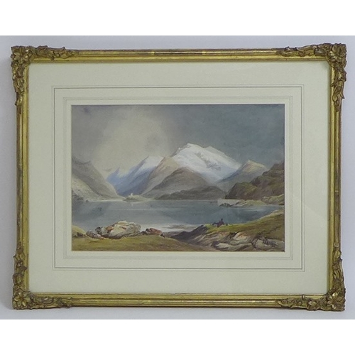 165 - British School (19th century): 'Lake of Llanberis, Dolbadarn Castle & Snowdon', titled verso, waterc...
