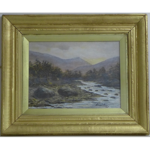186 - Archibald Kay R.S.A. R.S.W. (Scottish, 1860-1935): The Pass at Lenny, misty mountain stream, oil on ...
