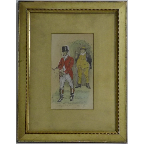 164 - Charles Johnson Payne (Snaffles) (British,1884-1967): 'This Time...', pencil and watercolour paintin...