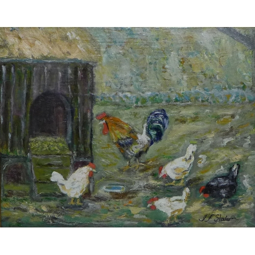 179 - John Falconer Slater (British, 1857-1937): Rooster and chickens outside a hen house, oil on canvas, ...