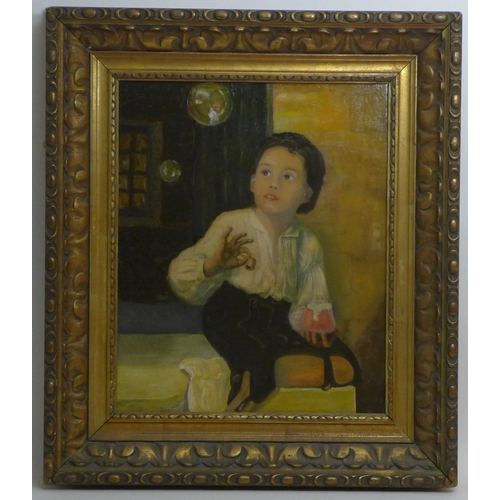175 - After Franz Thöne (German, 1851-1906): a copy of 'Bubbles', after the original depicting a youth blo...