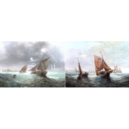 189 - George H. Knight (British, 1851-1922): a pair of marine scenes, 'Fishing off the Coast' and 'Fishing...