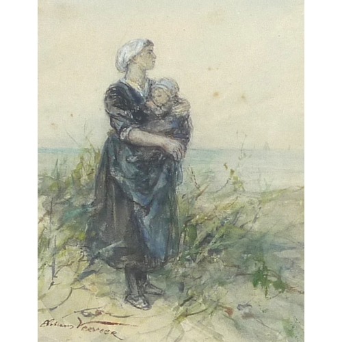 167 - Elchanon Verveer (Dutch, 1826-1900): a fisher woman with babe in her arms, looking out to sea, water...