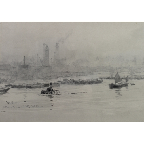 163 - William Lionel Wyllie RA, RE, RI (British, 1851-1931): 'Waterloo Bridge and the Shot Towers', with t...