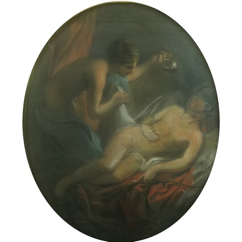 178 - After Carle Vernet (French, 1758-1836): Cupid and Psyche, an 18th century study, pastel on paper, la...