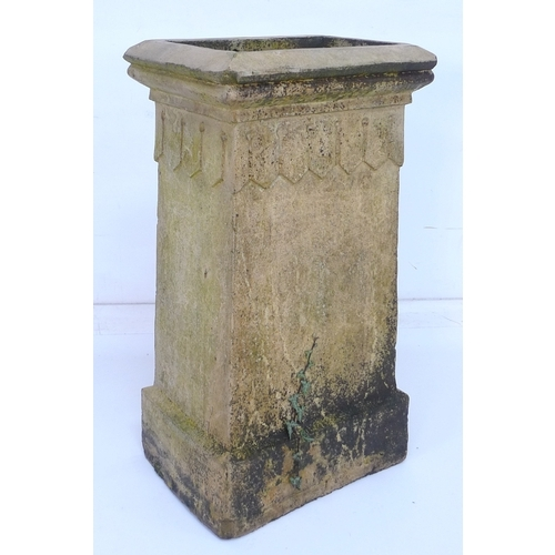 191 - A buff terracotta chimney pot by J. M. Blashfield, Stamford, of tapering square section form. 43 by ...