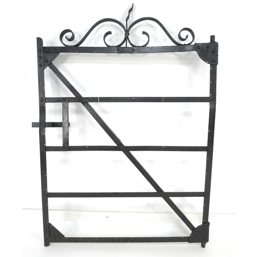 195 - A vintage French garden gate, black painted cast metal with scrolling decoration, maker's plaque 'ET...