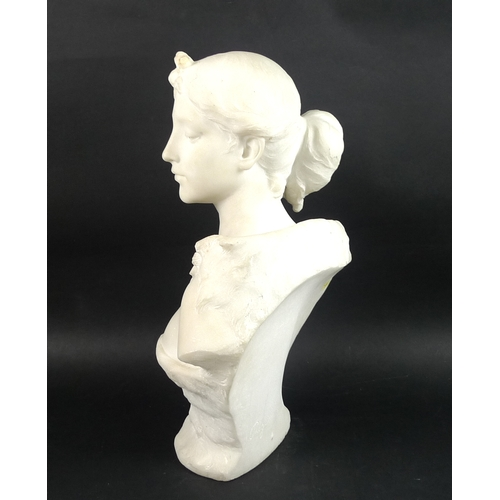 197 - Guglielmo Pugi (Italian, 1850-1915): a Carrara marble portrait bust, late 19th century, carved as a ...