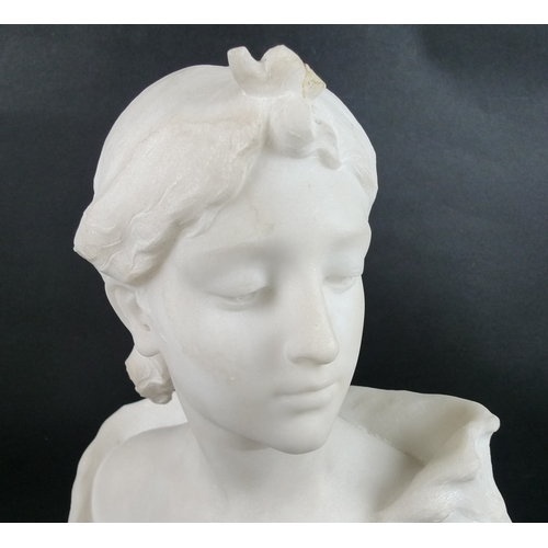 197 - Guglielmo Pugi (Italian, 1850-1915): a Carrara marble portrait bust, late 19th century, carved as a ...