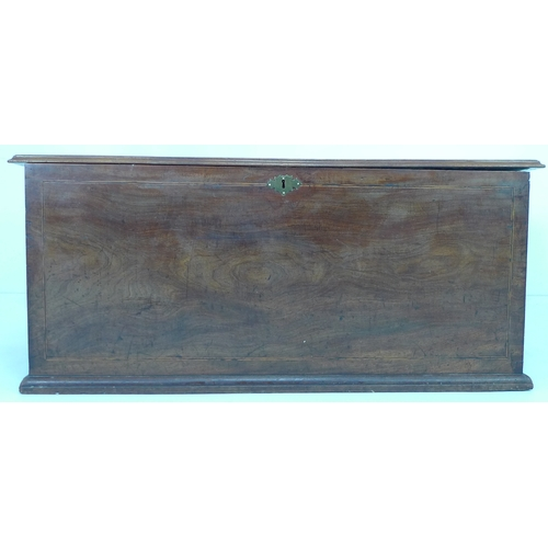 199 - A mid 19th century kist, brass swing handles to sides and brass escutcheon, lined interior, with key...