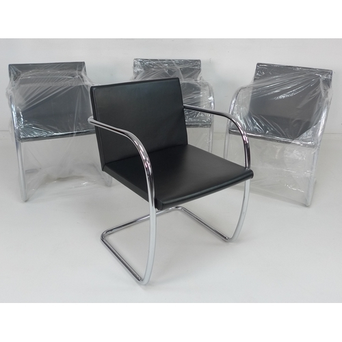 207 - A set of four Knoll Studio BRNO chairs, after design by Ludwig Mies Van Der Rohe, black leather seat...