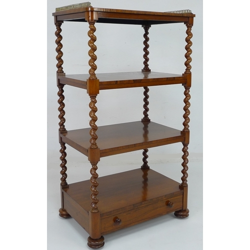 239 - A Victorian rosewood four tier whatnot, with brass galleried top, with drawer below, barley twist su...