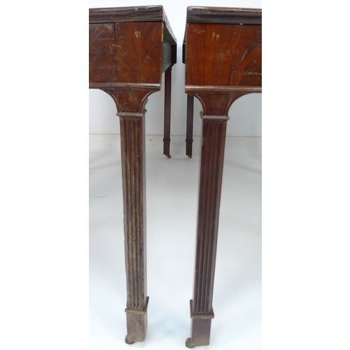 267 - A pair of George III cuban flame mahogany demi-lune pier tables, raised on square section reeded leg...