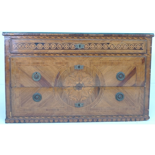 268 - A French 18th century commode, with three drawers, finely inlaid with marquetry, strung and crossban...