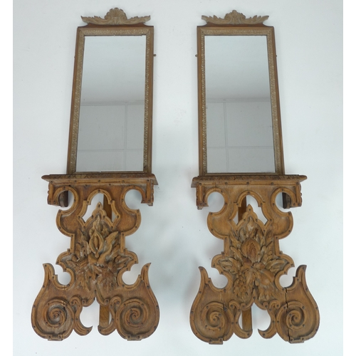 227 - A pair of oak pier tables and similar mirrors, parts 17th century, likely made up in the early 20th ...