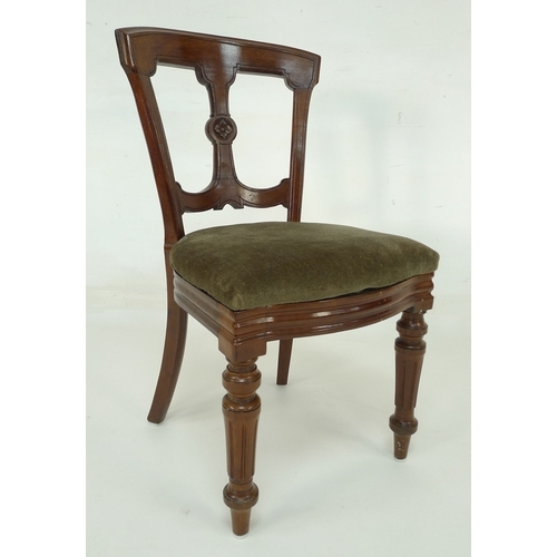 245 - A set of six Victorian dining chairs with sage green velvet upholstered seats, central splat to back...