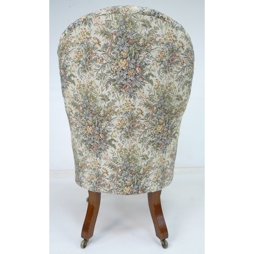 232 - A Victorian Spademan of Stamford mahogany commode in the form of a nursing chair, upholstered seat c...
