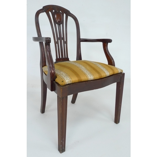 228 - A set of six early 20th century mahogany dining armchairs originally from RMS Franconia, Cunard Line...