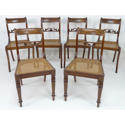 249 - A set of four and two Regency cane seated dining chairs, the set of four with impressed number 12263...