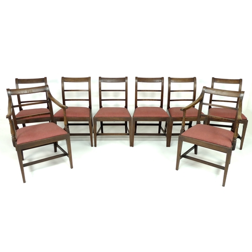 271 - A set of eight Georgian mahogany dining chairs, including two carvers, with drop in seats, chairs 50...