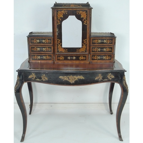 257 - A 19th century French ebonised and crossbanded bonheur du jour, with gilt metal applied decoration, ...