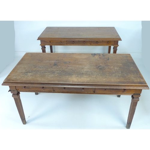 229 - A pair of Edwardian mahogany library desks, each with rectangular surface, three frieze drawers, rai...